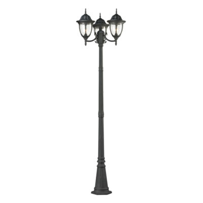 Central Square 3-Light Outdoor Post Lamp In Textured Matte Black