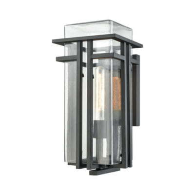 Croftwell 1-Light Outdoor Wall Sconce In Textured Matte Black With Clear Glass