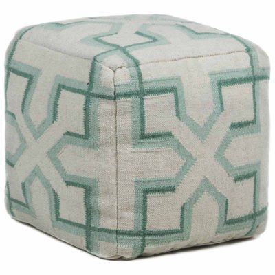 Chandra Fret Textured Square Wool Pouf Ottoman