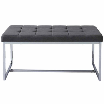CorLiving Huntington Modern Fabric Wide Bench with Chrome Base