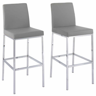 CorLiving Huntington Leatherette Bar Stools with Chrome Legs, Bar Height, Set of 2
