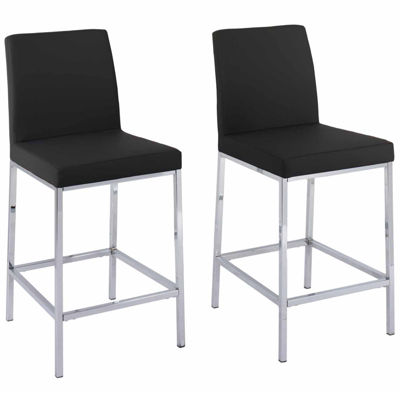 CorLiving Huntington Leatherette Bar Stools with Chrome Legs, Counter Height, Set of 2