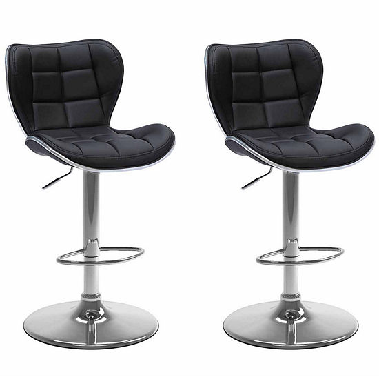 CorLiving Adjustable Barstool in Bonded Leather, Set of 2