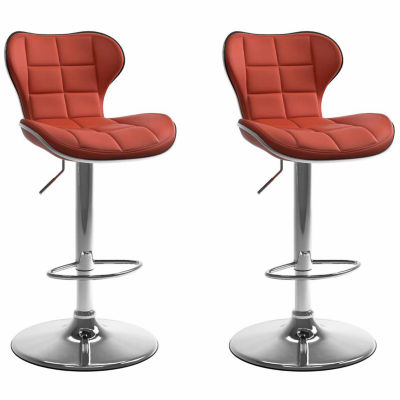 CorLiving Adjustable Barstool in Bonded Leather, Set of 2