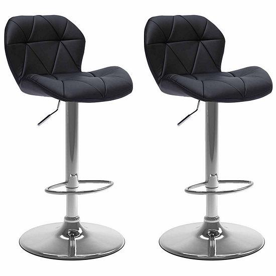 CorLiving Adjustable Hex Design Barstool in Bonded Leather, Set of 2