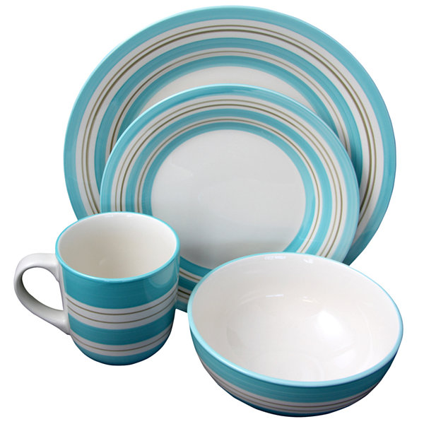 Gibson Sunset Stripes 16 Piece Dinnerware Set