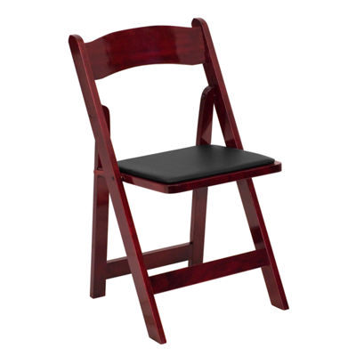 HERCULES Series Wood Folding Chair with Vinyl Padded Seat