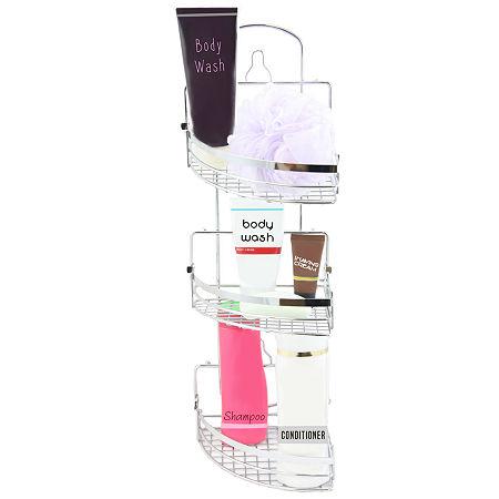 Elama Three Rack Shower Caddy with Foldaway Shelves, One Size , Silver