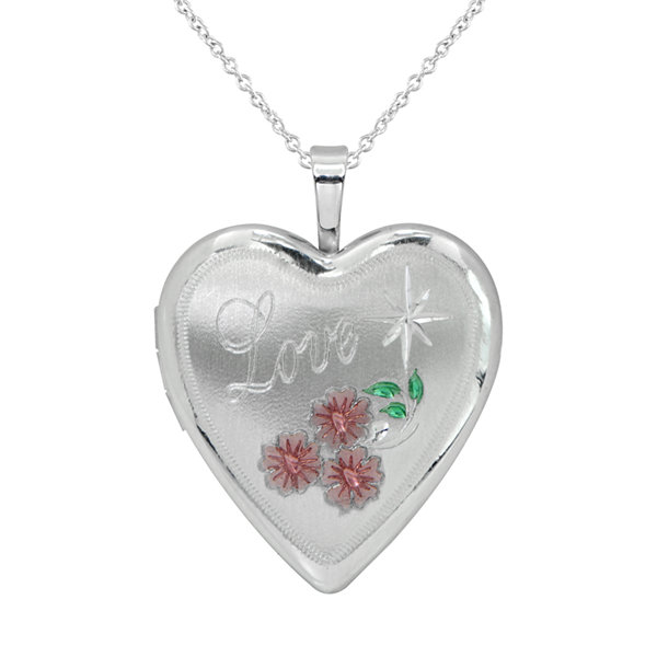 Womens Sterling Silver Heart Locket Necklace