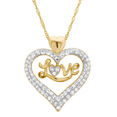 Womens Genuine Multi Color Crystal 14K Rose Gold Over Silver Heart Pendant Necklace