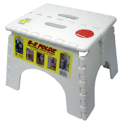 "B&R Plastics 101-6W 9"" X 11.5"" White EZ Folds Folding Step Stool"