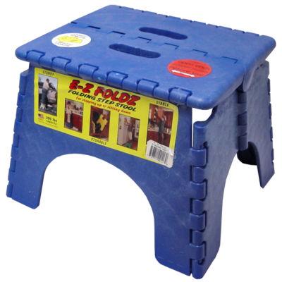 """B&R Plastics 101-6B 9"""" X 11.5"""" Blue EZ Folds Folding Step Stool"""