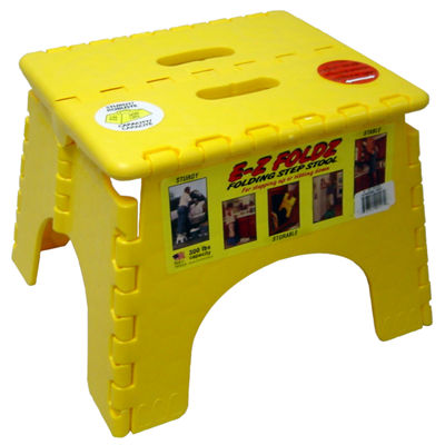 "B&R Plastics 101-6Y 9"" X 11.5"" Yellow EZ Folds Folding Step Stool"