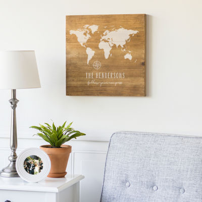 Cathy's Concepts Personalized World Map Wood Sign