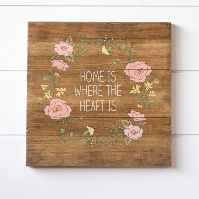 Cathy's Concepts Floral Home Is Where The Heart Is Wood Sign