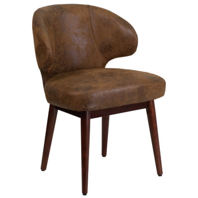 Comfort Back Series Side Reception Chair with Walnut Legs