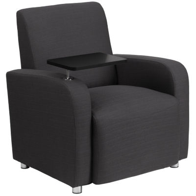 Fabric Guest Chair with Tablet Arm and Chrome Legs