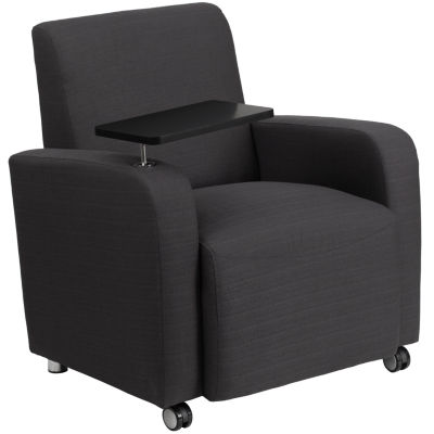 Fabric Guest Chair with Tablet Arm and Front Wheel Casters