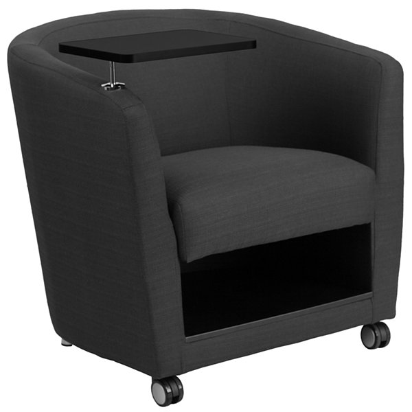 Fabric Guest Chair with Tablet Arm, Front Wheel Casters and Under Seat Storage