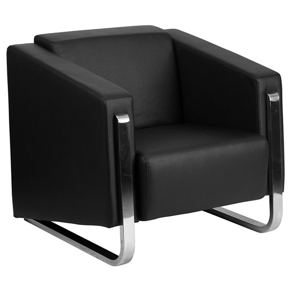HERCULES Gallant Series Contemporary Leather Chair with Stainless Steel Frame