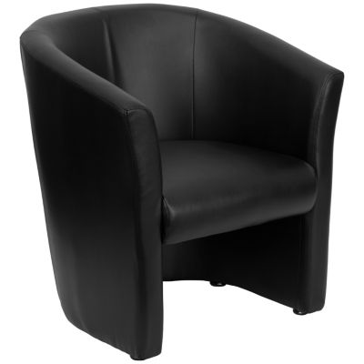 Leather Barrel-Shaped Guest Chair