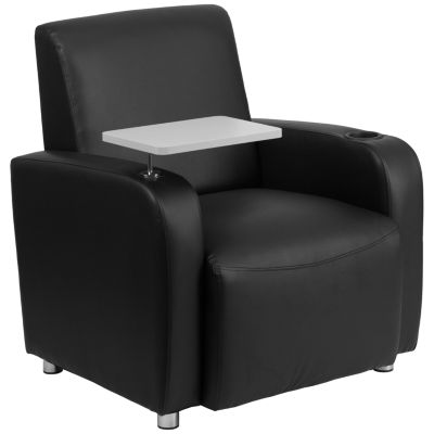 Leather Guest Chair with Tablet Arm, Chrome Legs and Cup Holder