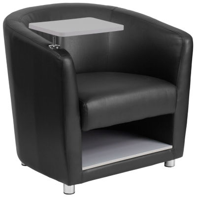 Leather Guest Chair with Tablet Arm, Chrome Legs and Under Seat Storage