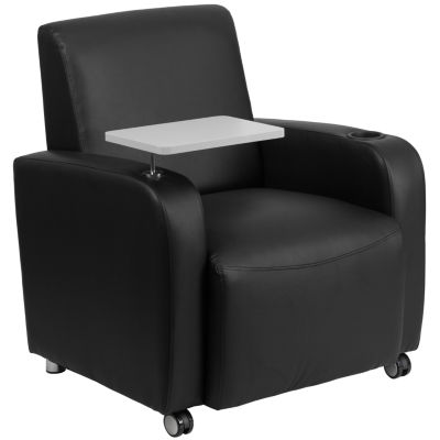 Leather Guest Chair with Tablet Arm, Front Wheel Casters and Cup Holder