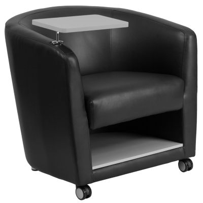 Leather Guest Chair with Tablet Arm, Front Wheel Casters and Under Seat Storage