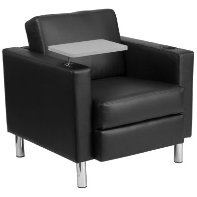 Leather Guest Chair with Tablet Arm, Tall Chrome Legs and Cup Holder