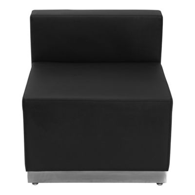 HERCULES Alon Series Leather Chair with Brushed Stainless Steel Base