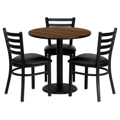 30'' Round Laminate Table Set with 3 Ladder Back Metal Chairs
