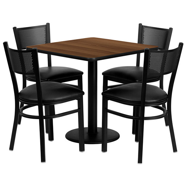 "30"" Square Walnut Laminate 5-pc. Dining Set with Metal Grid Back and Vinyl Seat Chairs"