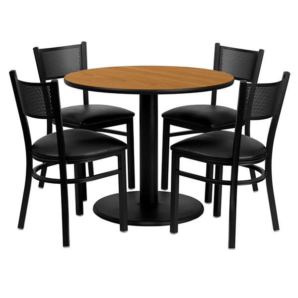 "36"" Round Natural Laminate 5-pc. Dining Set with Metal Grid Back and Vinyl Seat Chairs"