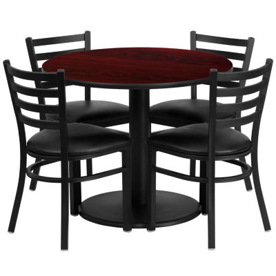 """36"""" Round Laminate 5-pc. Dining Set with Metal Ladder Back and Vinyl Seat Chairs"""