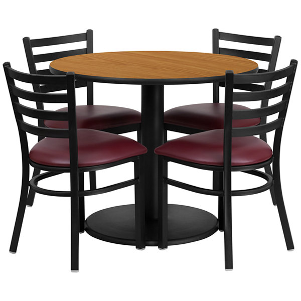"36"" Round Laminate 5-pc. Dining Set with Metal Ladder Back and Vinyl Seat Chairs"