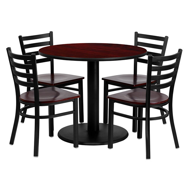 "36"" Round Laminate 5-pc. Dining Set with Metal Ladder Back and Wood Seat Chairs"