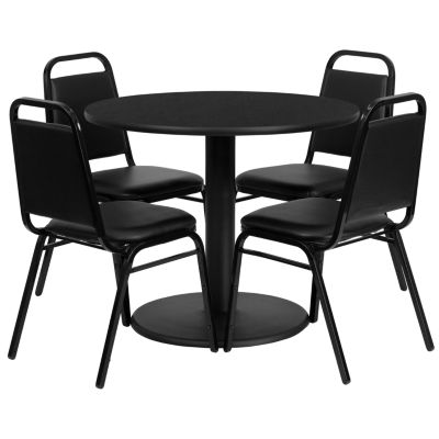 "36"" Round Laminate 5-pc. Dining Set with Trapezoidal Back Banquet Chairs"