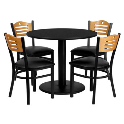 36'' Round Laminate Table Set with 4 Wood Slat Back Metal Chairs