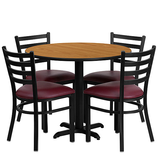 36\'\' Round Laminate Table Set with 4 Ladder Back Metal Chairs