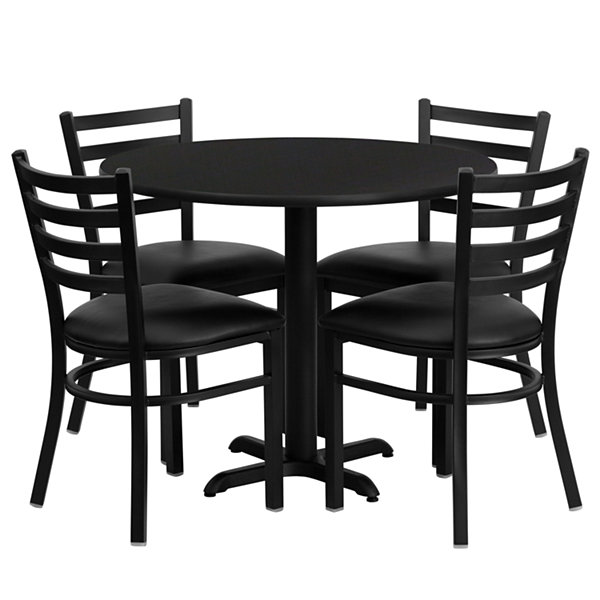 "36"" Round X-Base Laminate 5-pc. Dining Set with Metal Ladder Back and Black Vinyl Seat Chairs"