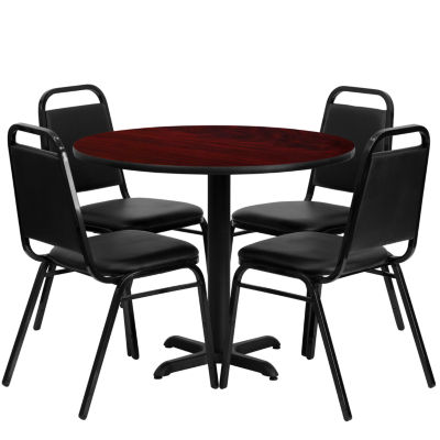 "36"" Round X-Base Laminate 5-pc. Dining Set with Trapezoidal Back Banquet Chairs"