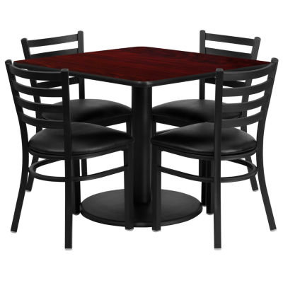 "36"" Square Laminate 5-pc. Dining Set with Metal Ladder Back and Vinyl Seat Chairs"