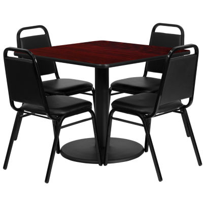 """36"""" Square Laminate 5-pc. Dining Set with Trapezoidal Back Banquet Chairs"""