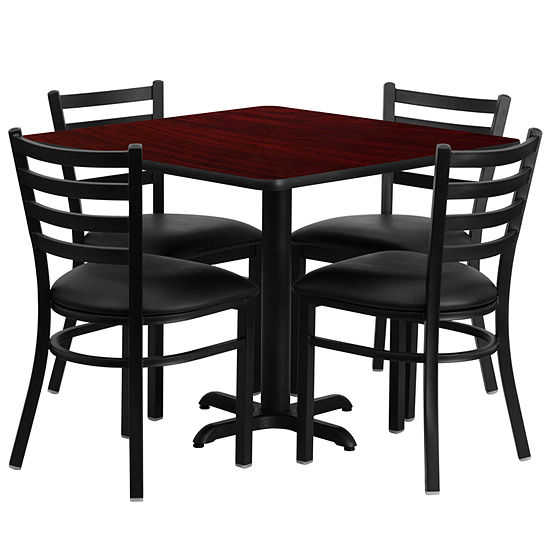 36 Square Laminate Table Set With 4 Ladder Back Metal Chairs