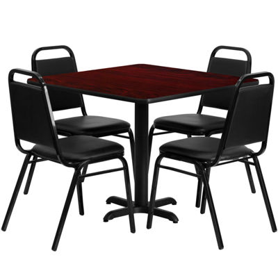 36'' Square Laminate Table Set with 4 Trapezoidal Back Banquet Chairs