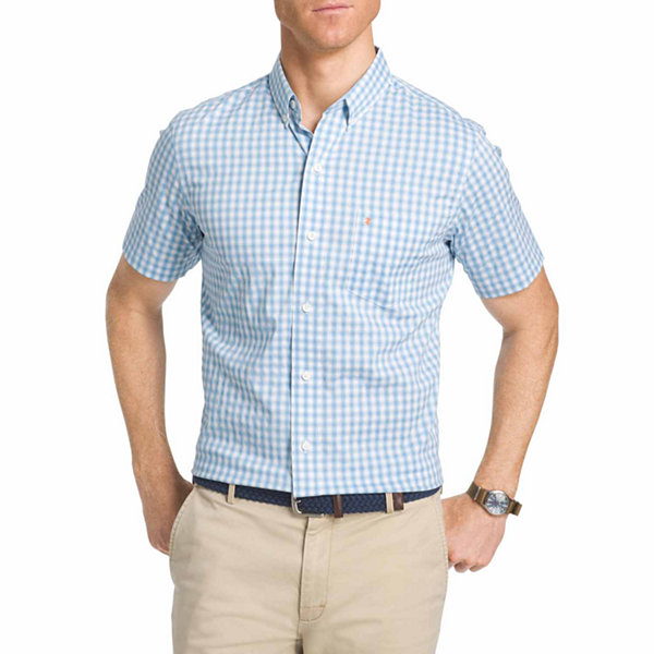 IZOD Ss Advantage Check Woven Short Sleeve Checked Button-Front Shirt-Big and Tall