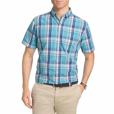 Izod ss saltwater plaid woven short sleeve button front for Izod big and tall shirts