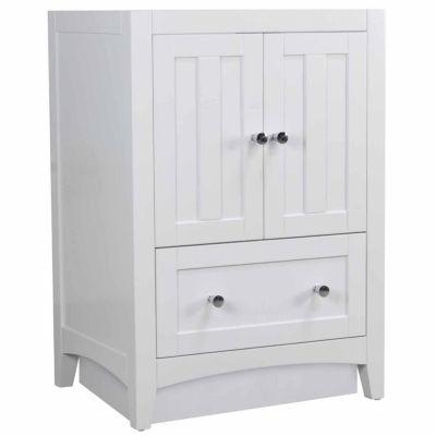 American Imaginations Shaker Rectangle Floor Mount Modern Plywood-Veneer Vanity Base Set Only In White