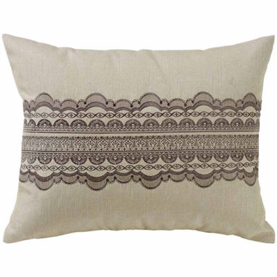HiEnd Accents Tan Burlap with Grey Scallop Lace Design Pillow